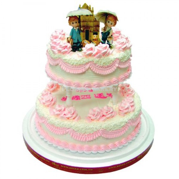 2 Tier Decorated Cake w/ Figurines
